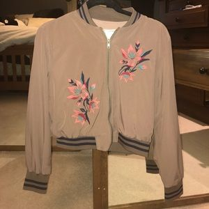 Jackets & Blazers - Cropped brown floral bomber jacket
