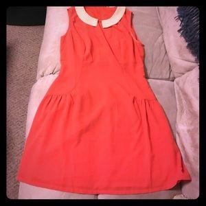 Sleeveless Orange & Peach Peter Pan collared dress