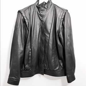 Vintage Jackets & Blazers - Vintage Black Leather Jacket 90s