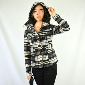 Hydraulic Jackets & Blazers - Black Purple White Plaid Wool Suede Hooded Peacoat