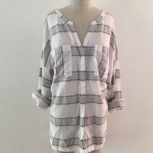 Old Navy Tops - Striped Cotton Button Up Blouse