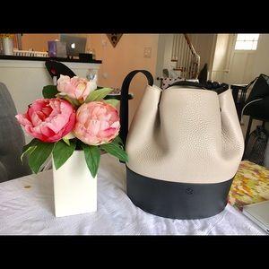 Dagne Dover Handbags - Dagne Dover Ava Bucket Bag -Bone/Onyx Leather