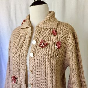 Vintage Beaded Cardigan Sweater (AS IS)