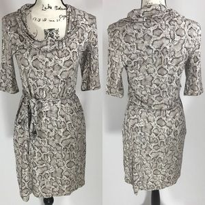 Velvet Dresses & Skirts - Velvet Cowl Neck Long Sleeve Snake Print Dress