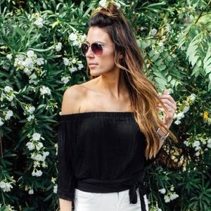 Ily Couture Tops - Black Off-Shoulder Tie Top