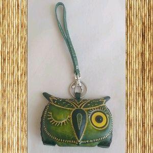 Leather Winking Owl Clutch Wristlet Purse !