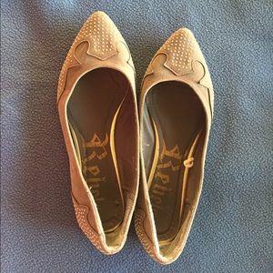 Size 7.5 M, Grey ballet flats w/ gold tacks.