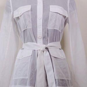 Theory Jackets Amp Coats Lorem Voile White Safari Jacket