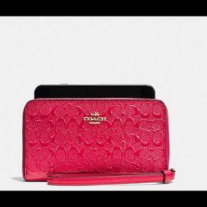 Coach Handbags - Coach Patent Phone Wallet Wristlet
