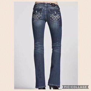 Miss Me Boot Cut Jeans 26 Embroidered Flap Pockets
