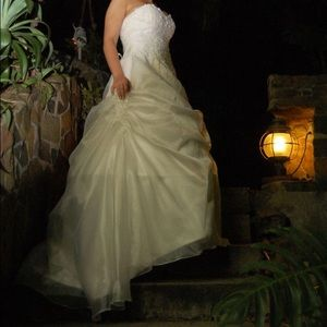 Dresses & Skirts - Strapless Tulle / Satin Floor-length Wedding Dress