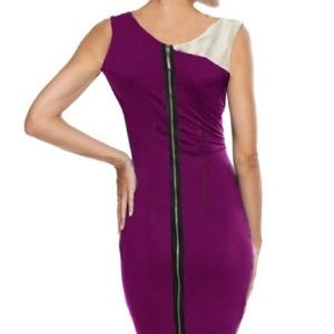 Dresses & Skirts - purple pencil bodycon dress /white sleeve Size ps