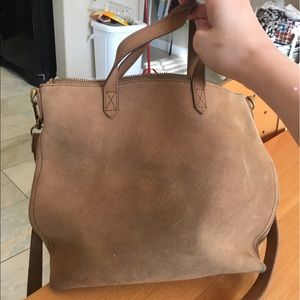 Mini Madewell transport bag in camel suede