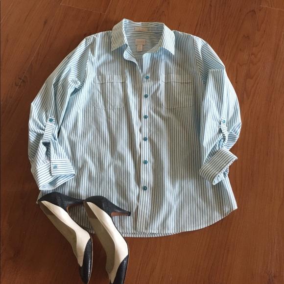 85 off chico 39 s tops cotton no iron aqua pinstripe for No iron cotton shirts
