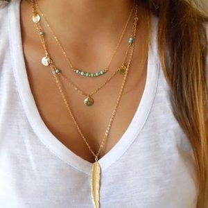 ⭐️BOHO CHIC multi chain necklace with turquoise ⭐️