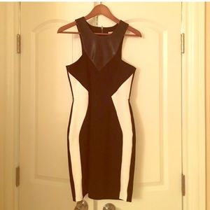 Black and white color lock dress w/ leather panel