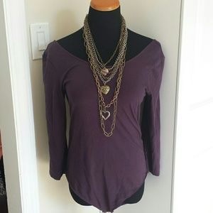 Express Tops - NWT Plum 3/4 Sleeve Off The Shoulder Bodysuit