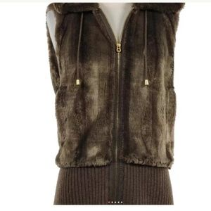 Juicy Couture faux fur hooded vest in brown size M