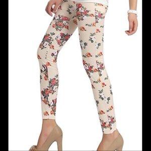 beige Floral leggings