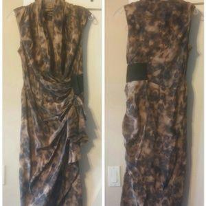 All Saints Silk Leopard Print Flutter Wrap Dress