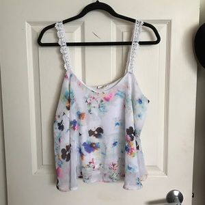 Tops - Watercolor Chiffon Crop Top