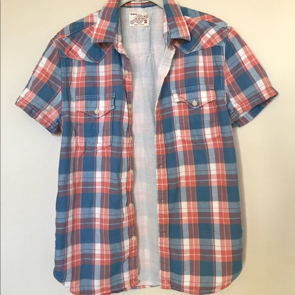 NWT Lucky Brand Men/'s Short-Sleeve One Pocket Flap Shirt