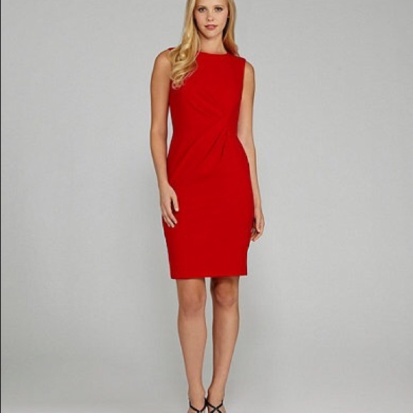 Calvin Klein Dresses Red Sheath Dress With Gathered Side