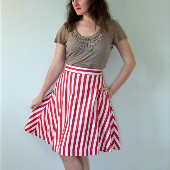 ccb925584a ModCloth Skirts | Red White Striped Skirt | Poshmark