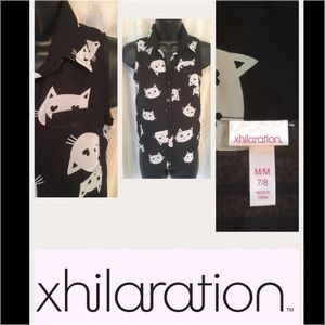 SALE Black Sheer White Kitty  Top SIZE M 7/8
