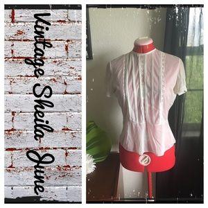 Vintage 60's Sheila June mint sheer blouse