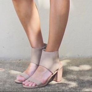 Perfect Nude Open Toe Distressed Cuffed Sandals