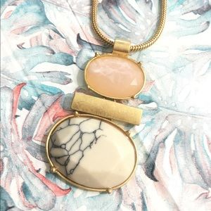 NEW Marble & Pink Stone STATEMENT Necklace!