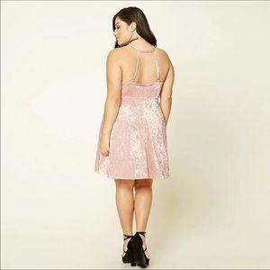 Plus Size Pink Velvet Skater Dress NWT