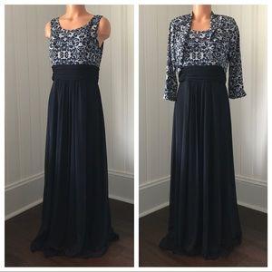 Jessica Howard Dresses & Skirts - Jessica Howard Navy Gown 2 Piece Dress 12P