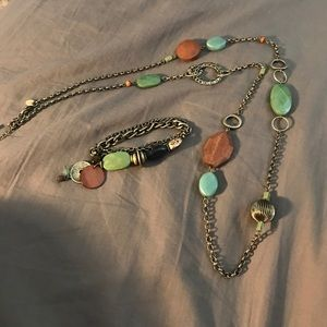 Lia Sophia Jewelry - Lia Sophia necklace and bracelet set green brown