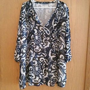 Coldwater Creek Tops - COLDWATER CREEK Blue & White Floral Blouse 2X/3X
