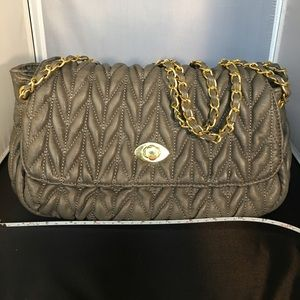 Urban Expressions Handbags - Gray Quilted w/ Gold