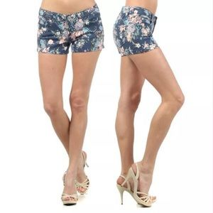 Pants - Navy Floral Twill Stretch Summer Shorts NEW