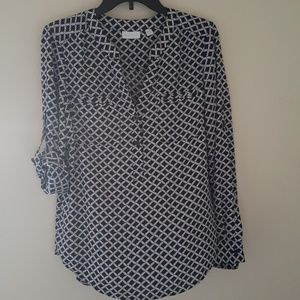 New York & Company Tops - Navy and White Braided Rope Pattern Blouse