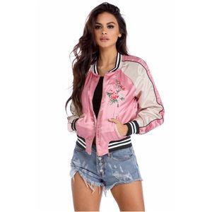 Pink Floral Embroidered Bomber Jacket