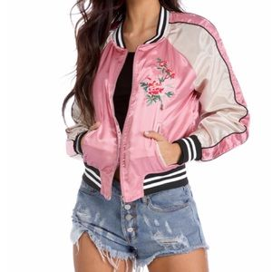 Jackets & Blazers - Pink Floral Embroidered Bomber Jacket