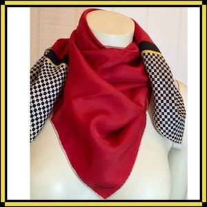 Loewe Accessories - Classic Loewe Dramatic Red Silk Scarf Neckerchief