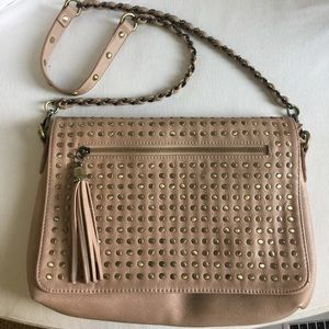 Tan urban expressions studded crossbody bag