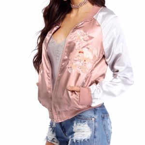 Jackets & Blazers - Mauve Highlight Embroidered Bomber