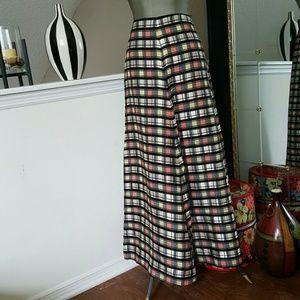 Vintage black and white check maxi skirt sz xs