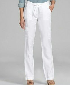 Eileen Fisher Pants - Eileen Fisher Linen Blend White  Cargo Pants