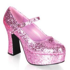 Funtasma Shoes - Pink Glitter Chunk heel platforms
