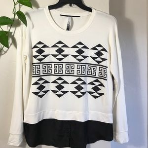 Kensie Top Long Sleeve Aztect Print French Terry