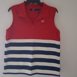 CB Casual Tops - Patriotic Red, Cream and Blue Sleeveless Polo Top