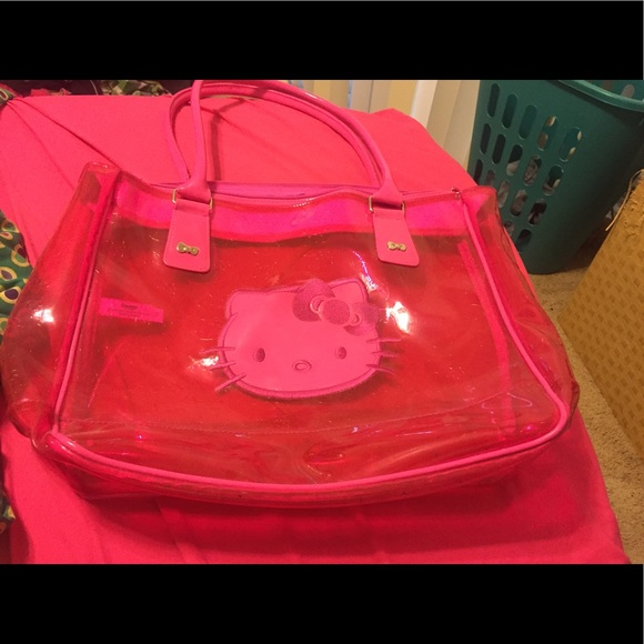 83f2f0ac1daf Hello Kitty Handbags - Hot pink clear hello kitty bag